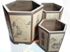 粉出汗泥矮六方 Clay Pot
