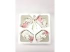 單粉色滿花Kitty猫4碗4勺 Bowl+Spoon Set