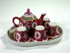 紅萬壽六頭小茶具 Tea set(red)